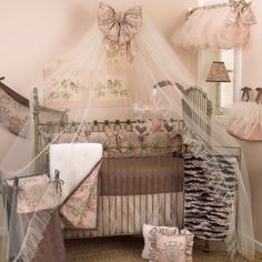 Decorate a magnificent space for your sweet girl with the Cotton Tale Designs Nightingale 7 Piece Crib Bedding Set . This pink and brown crib ensemble. Crib Sets, Crib Bedding Sets, Nursery Bedding, Linen Bedding, Bedding Shop, Baby Bedding, Bed Linen, Brown Crib, Newborn Diapers
