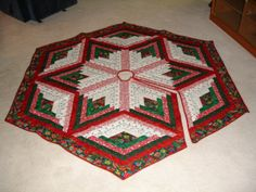 Machine Quilted Christmas Tree Skirt by ayrlooms1 on Etsy | Quilts ... : christmas tree skirt pattern quilt free - Adamdwight.com