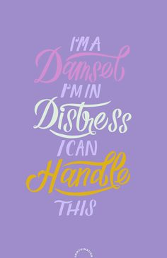 I'm a Damsel, I'm in Distress, I Can Handle This - Meg, Hercules. // Quote, Lettering Quote, IPad Lettering, Pro Create. by Emmy de León Jones