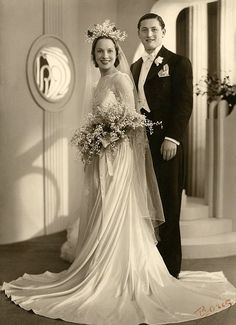 A beautiful bride and groom from 1932