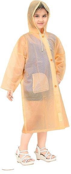 Real Peach Solid Plastic Raincoat For Girl #Raincoat #Peach