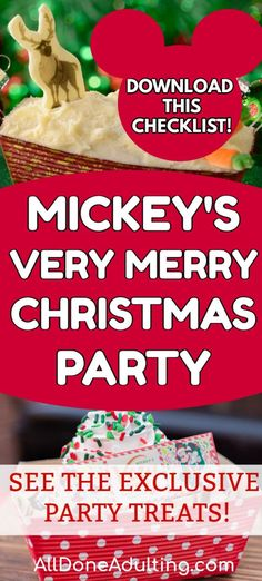 "See what's NEW this year at Mickey's Very Merry Christmas Party! Download the complete checklist of food, show times, characters, and special events. See pictures of every Mickey's Christmas Party exclusive treat and start planning your Christmas visit to Disney World. All Done Adulting helps moms prioritize JOY over ""should"" and has tons of information to help you plan your next Disney vacation! #disneyworld"