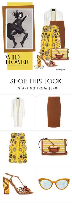 """""""Stay Golden in Marigold"""" by flippintickledinc ❤ liked on Polyvore featuring Alexander Wang, TIBI, Etro, Loewe, Aquazzura, Oliver Peoples and marigold"""
