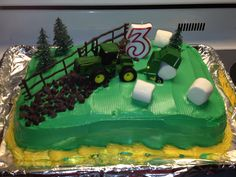 The John Deere cake I made for my 3 year old.
