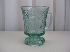 Vintage Tiara Exclusives Ponderosa Pine Spearmint Green Glass Mug Indiana