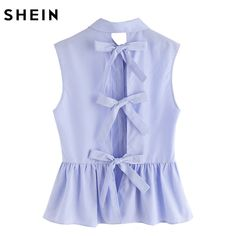 440cefeee852a SHEIN Shirt Women Blue Blouses in Women Blouses Summer Cute Striped Bow Tie  Split Back Sleeveless Peplum Shirt-in Blouses & Shirts from Women's  Clothing ...