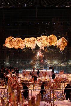Installation and table decor by confettisystem for American Ballet Theatre Fundraising Gala Confetti System, Desk Layout, American Ballet Theatre, The Design Files, Ceiling Decor, Event Decor, Gala Decor, Front Desk, Event Design