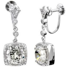 Emitations Margareta's Brilliant CZ Dangle Screwback earrings