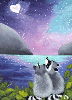 ACEO Print Raccoon Heart Moon | eBay