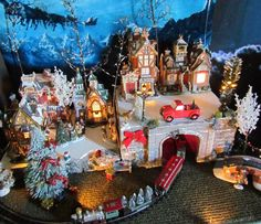 Christmas Lighted Train Tunnel Village Display Platform Base Dept 56 Lemax Snowy | FOR SALE VillageDisplays.com