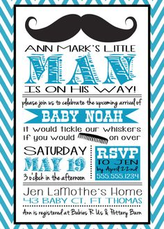 Mustache Little Man Baby Shower Invitation for a boy by BluegrassWhimsy, $15.00