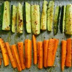 Oven Roasted Carrots & Zucchini: Easy recipe to zest up those boring vegetable sides! Just coat and roast!