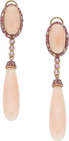 Coral, Sapphire, Diamond, Pink Gold Earrings.