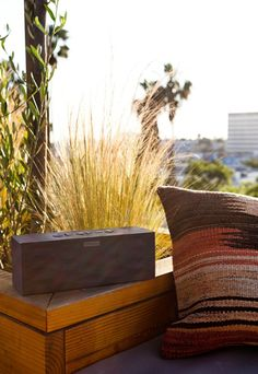 Listening to the sunset. Big Jambox by Jawbone. ...portable, wireless, bluetooth, rechargeable speaker.