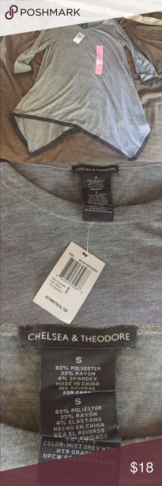 NWT Chelsea & Theodore asymmetrical tunic small Brand new with tags gray tunic with darker gray accents... awesome with a pair of fun leggings! Tops Tunics