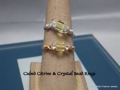 Jonquil Cube & Crystal AB Bead Ring by BobsFashionJewelry on Etsy