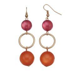 Pink+&+Orange+Cat's-Eye+Beaded+Drop+Earrings