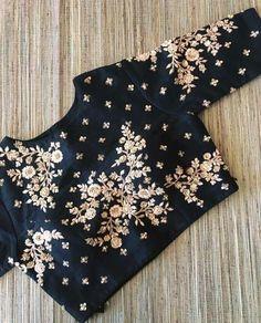 Black raw silk floral design hand zardosi work Designer wedding saree lehenga blouses To inquire whatsapp 918888328116 or ethnicdiagmailcom Sari Blouse Designs, Blouse Patterns, Blouse Styles, White Shirts Women, Blouses For Women, White Ruffle Blouse, Embroidery Dress, Zardosi Embroidery, Embroidery Blouses