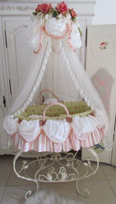 so sweet . we have a similar cradle and bedding and can custom make cradle and crib bedding. Designnashville.