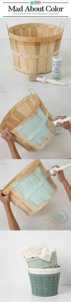 Customize orchard baskets with Vintage Decor Paint from #marthastewartcrafts - now available @michaelsstores