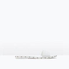STUDDED SLIP-ON FLAT SANDALS