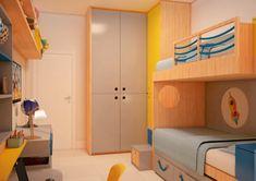 Quarto irmãos - quarto divertido - quarto menino - madeira+cinza+azul+amarelo