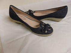 Elie Tahari wedge hill shoe for women in denim blue, size 38 with the box $30