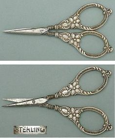 Antique-Sterling-Silver-Embroidery-Scissors-American-Circa-1890s Antique-Sterling-Silver-Embroidery-Scissors-American-Circa-1890s Antique Sterling Silver Embroidery Scissors * American * Circa 1890