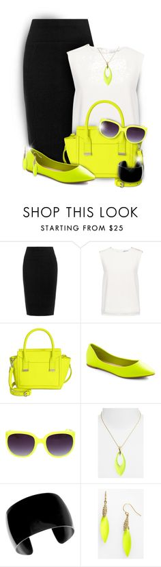"""""""Black, White and Neon Yellow Outfit"""" by rainbowroad96 ❤ liked on Polyvore featuring Finders Keepers, Danielle Nicole and Alexis Bittar"""