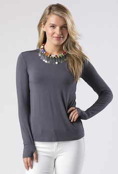 d956e435dd9 The Michelle crewneck tee is bound to be one of your favorites. This long  sleeve