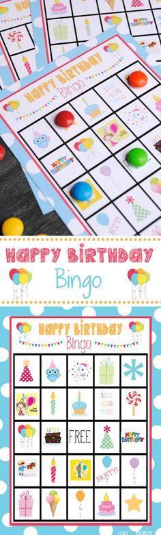 Free Printable Birthday Bingo Game.  Very sweetly designed bingo game.  Perfect for filling in party time.  Smarties as counters brillant too!