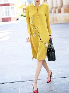 #StyleWe Shop TangJie Dresses - Yellow Printed Long Sleeve Midi Dress online. Discover unique designers fashion at AdoreWe.net.