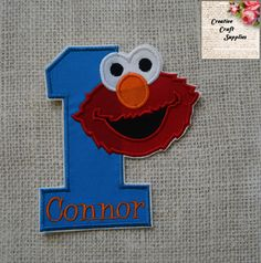 Boys Girls baby toddler 1st birthday sesame street Elmo Monster No sew Iron on diy embroidered applique patch 1 2 3 4 5 6 7 8 9 by CrazyCraftRoom on Etsy