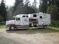 Camper and Car Hauler Truck Bed Camping, Rv Truck, Big Rig Trucks, Semi Trucks, Cool Trucks, Truck House, Pickup Camper, Bus Camper, Camper Trailers