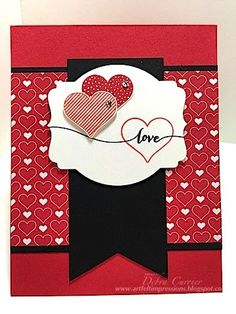 ARTfelt Impressions: CCMC 336 | hearts and valentine love | Card Recipe: Stamps- Hello Life; Paper- Real Red, Basic Black, Whisper White, Stacked with Love designer paper; Ink- Tuxedo black Momento ink, Real Red, Calypso Coral; Accessories- Deco Labels framelits, rhinestones, dimensionals