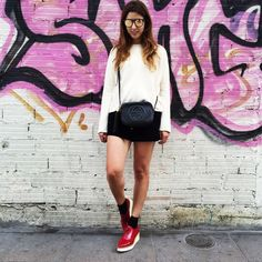 donkeycool: Mirror sunnies, red shoes