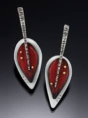 Colored pencil on copper riveted to sterling silver, Deb Karash
