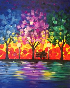Simple, bright, beautiful. Romance in the Park is the perfect date night painting!