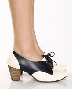 White & Navy Blue Tie Up Oxfords $61, heals just the right height