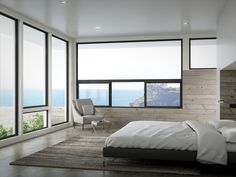Horizontal slider windows are a favorite for contemporary style homes and are also popular for satisfying bedroom egress requirements. Contemporary Windows, Modern Windows, Contemporary Style Homes, Contemporary Bedroom, Large Windows, Bedroom Window Design, Bedroom Windows, Living Room Windows, House Windows