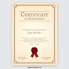 White red and gold certificate free vector certificate certificate of achievement free vector yadclub Images