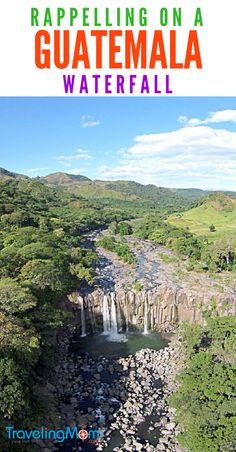 Rappelling at Los Amates a Guatemala Waterfall - Adventure tour #familytravel #guatemala #TMOM