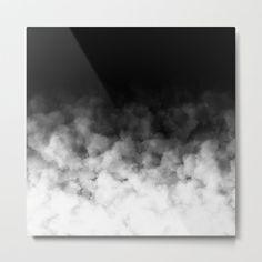 Ombre Black White Minimal Metal Art Print by Sofia Katsikadi - Large
