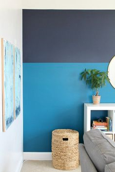 Sherwin-Williams Color of the Year, Playroom Makeover Modern Color Blocked Wall With Sherwin-Williams Playroom Paint, Boys Bedroom Paint, Blue Bedroom Walls, Kids Room Paint, Bedroom Wall Colors, Room Paint Colors, Interior Paint Colors, Bonus Room Decorating, Feng Shui
