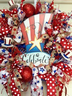 Patriotic 4th of July Red, White, and Blue Summer Mesh Wreath by WilliamsFloral on Etsy https://www.etsy.com/listing/385191238/patriotic-4th-of-july-red-white-and-blue