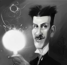 Nikola Tesla cartoon portrait from Kadir Yılmaz