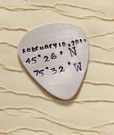 Guitar Picks Personalized  Latitude Longitude by whiteliliedesigns, $20.00.  Cute engagement gift.