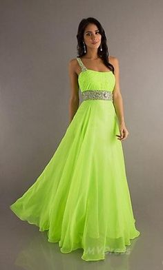 Gorgeous A-Line/Princess One-Shoulder Beading Sleeveless Floor-length Chiffon Prom Dress - Evening Dresses - Social Occasion A Line Prom Dresses, Grad Dresses, Homecoming Dresses, Bridal Dresses, Strapless Dress Formal, Dress Prom, Dresses 2013, Lime Green Prom Dresses, Dresses Dresses