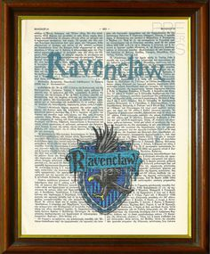 """Harry Potter - """"Ravenclaw"""" House Crest Upcycled Antique Dictionary / Hogwarts / J. K. Rowling / Art Print / 8.5""""x11"""" (210x280 mm) Poster"""