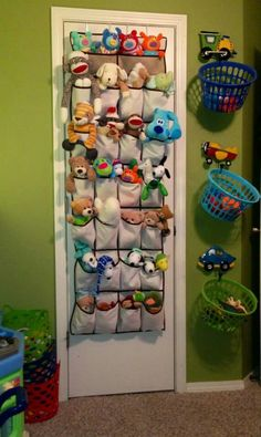 kids room put stuffed animals in shoes organizer.  I like the hanging baskets!!!